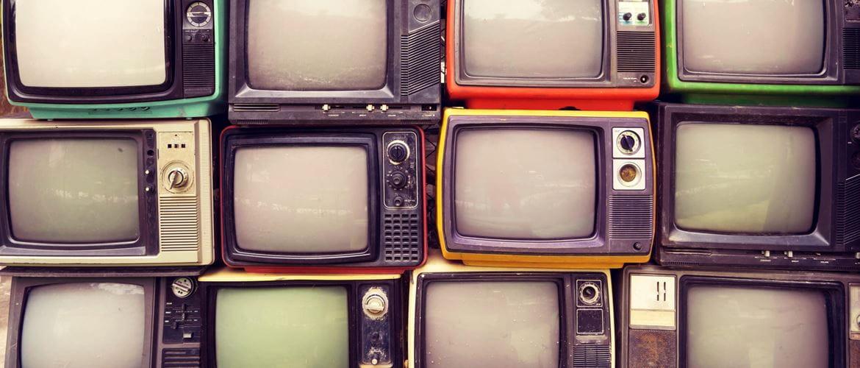 retro television screens and monitors stacked