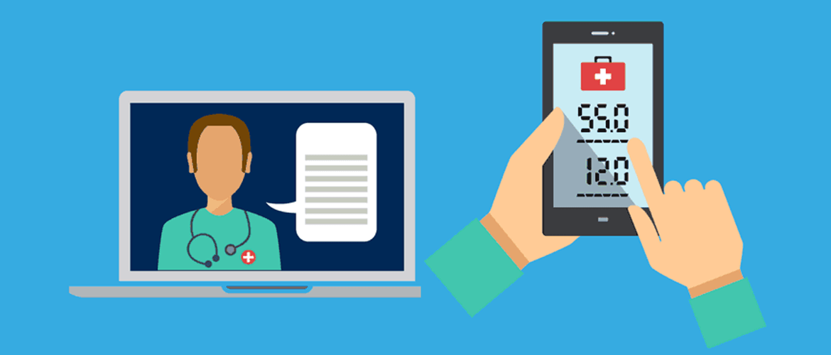 illustration of doctor web conference and health tracker app on a smartphone