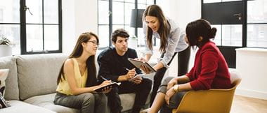 team members benefiting from talking rather than emailing