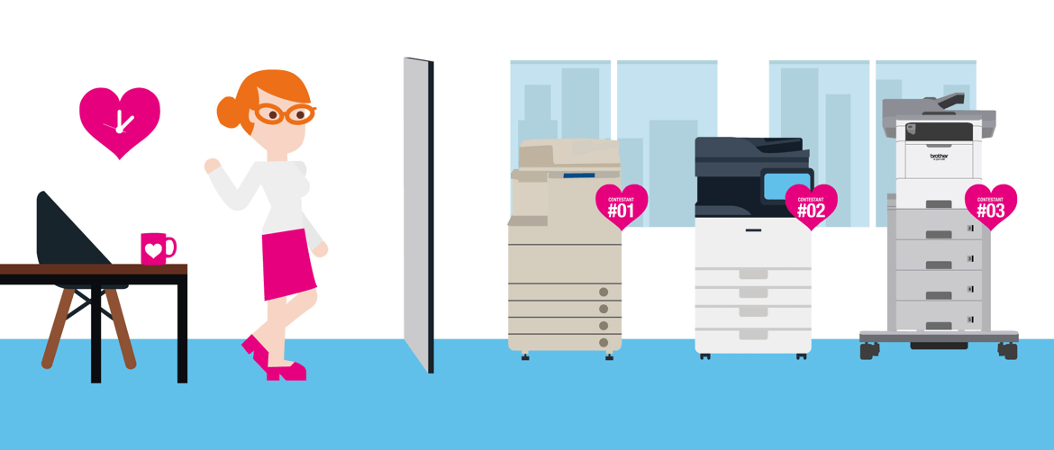 illustration showing three printers hidden behind a screen, set up like blind date.