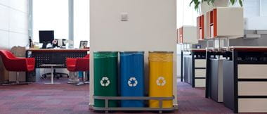 recycling waste bins in an SMB office