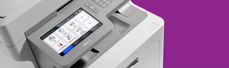 printer on a plain purple background