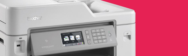 inkjet printer against a red background