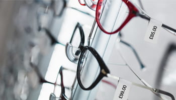Glasses on a display in an opticians