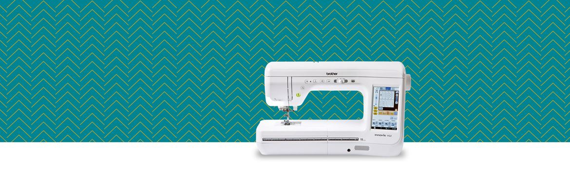 VQ2 sewing machine on teal pattern background
