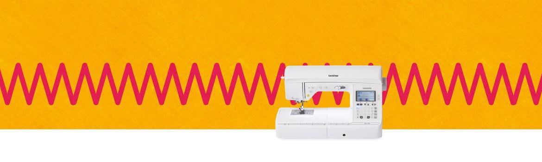 Sewingmachine on orange background