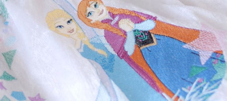 embroidery pattern of two disney princesses