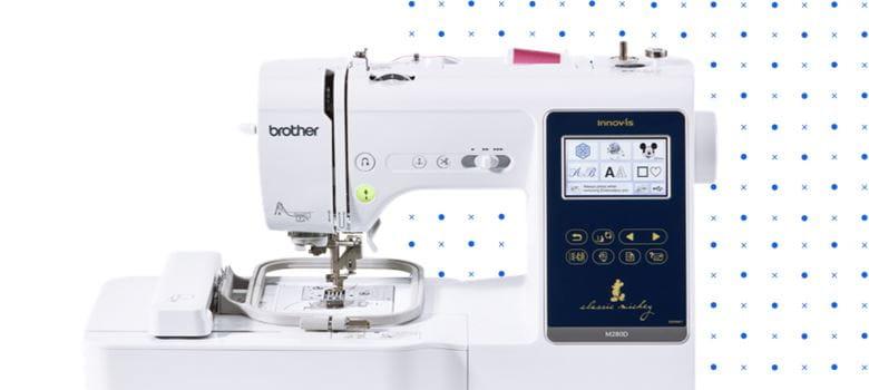 sewing machine on polka dot background