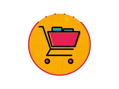 pink and orange shopping trolley icon