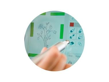 person using sewing machine touch screen with stylus pen
