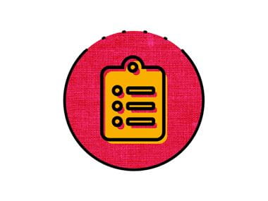 pink and orange clipbaord icon