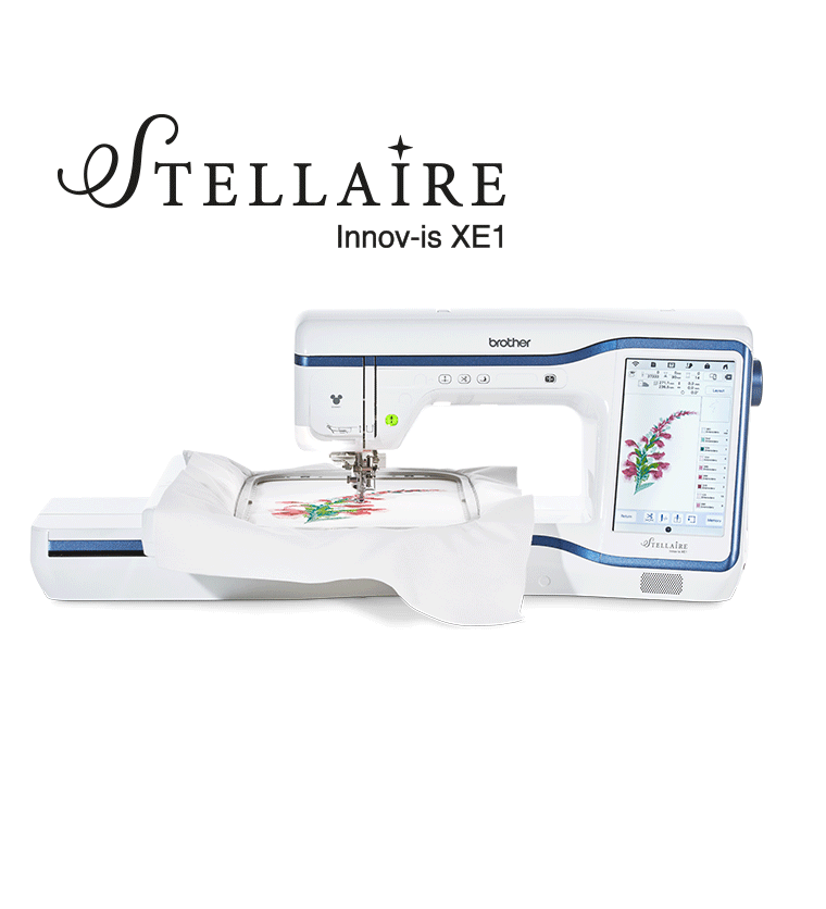 Brother Stellaire Innov-is XE1 embroidery machine with flower design