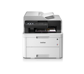 MFCL3710CW colour LED wireless printers front facing with paper