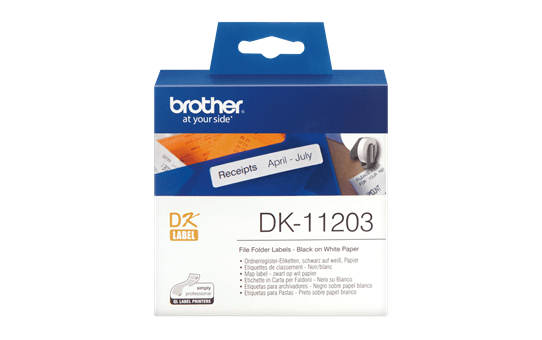 Genuine Brother DK-11203 Label Roll – Black on White, 17mm x 87mm