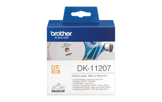 Genuine Brother DK-11207 CD/DVD Film Label Roll – Black on White, 58mm diameter
