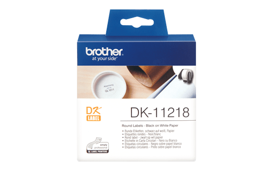 Genuine Brother DK-11218 Label Roll – Black on White, 24mm round labels