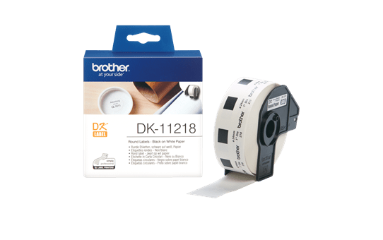 Genuine Brother DK-11218 Label Roll – Black on White, 24mm round labels 3