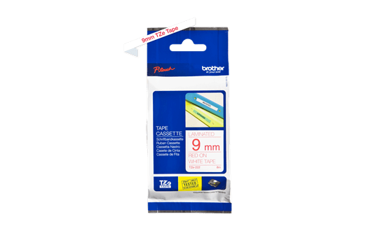 Genuine Brother TZe-222 Labelling Tape Cassette – Red on White, 9mm wide 2