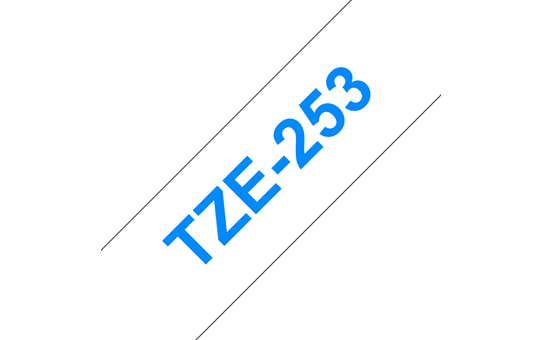 Genuine Brother TZe-253 Labelling Tape Cassette – Blue on White, 24mm wide 3