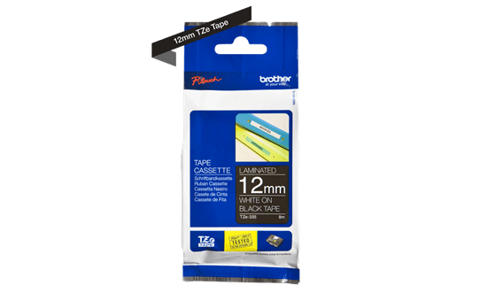 Genuine Brother TZe-335 Labelling Tape – White on Black, 12mm wide 2