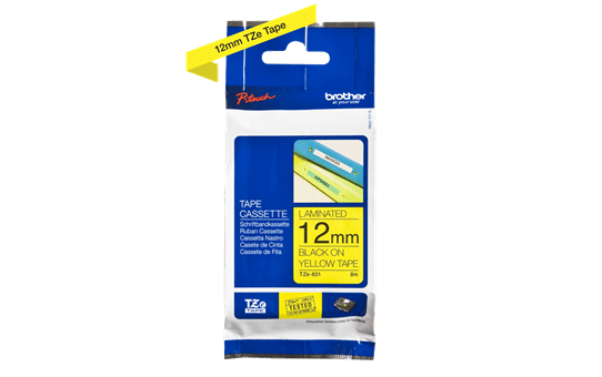 Genuine Brother TZe-631 Labelling Tape – Black on Yellow, 12mm wide 2