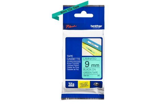 Genuine Brother TZe-721 Labelling Tape Cassette – Black on Green, 9mm wide 2