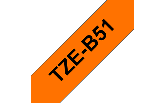 Genuine Brother TZe-B51 Labelling Tape Cassette – Black on Fluorescent Orange, 24mm wide 3