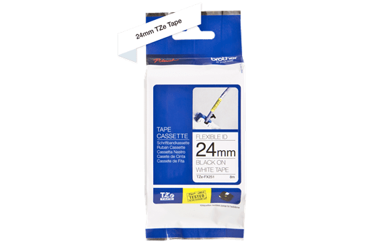Genuine Brother TZe-FX251 Labelling Tape Cassette – Black on White Flexible-ID, 24mm wide 2