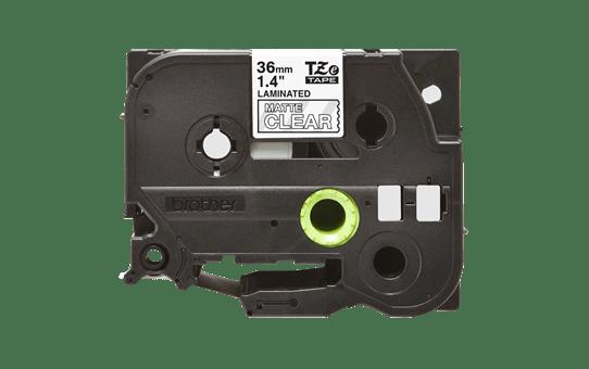 Genuine Brother TZe-M65 White on Clear Matt Laminated Tape, 36mm 2