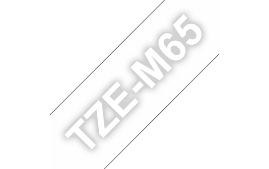 Genuine Brother TZe-M65 White on Clear Matt Laminated Tape, 36mm
