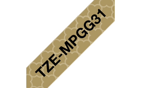 Genuine Brother TZe-MPGG31 Labelling Tape Cassette – Black On Gold Pattern, 12mm wide 3