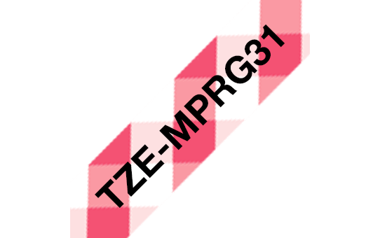 Genuine Brother TZe-MPRG31 Labelling Tape – Black on Red Gingham, 12mm wide 3