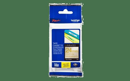 Genuine Brother TZe-PR254Labelling Tape Cassette – Gold On Premium White, 24mm wide 2