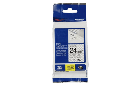 Genuine Brother TZe-SE5 Security Labelling Tape Cassette – Black on White, 24mm wide 2